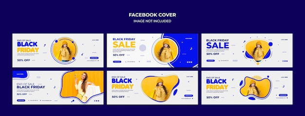 Capa do facebook e modelo de banner da web da black friday mega-venda promocional