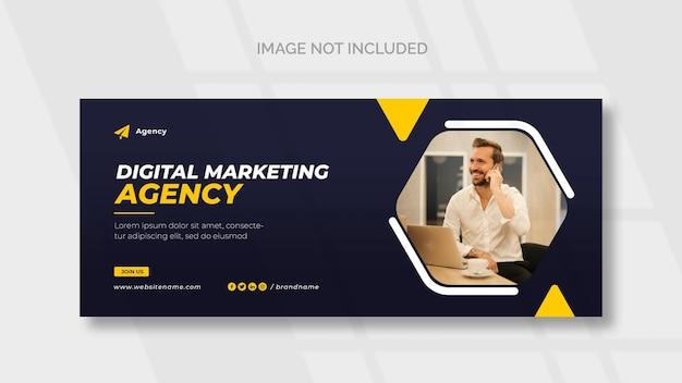 Capa do facebook e modelo de banner da web de marketing digital