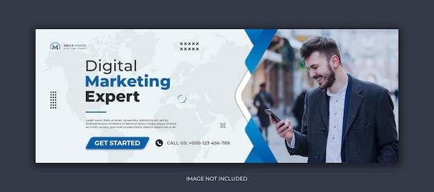 Capa do facebook e modelo de banner da web para mídia social corporativa de marketing digital