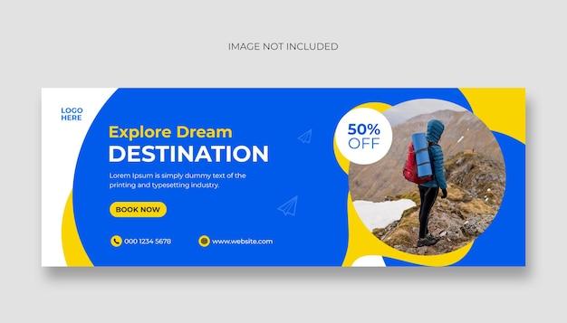 Capa do facebook e modelo de banner da web para mídia social de viagens e turismo