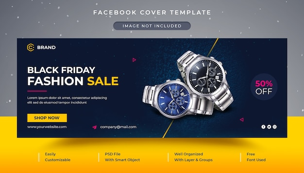 Capa do facebook e modelo de banner da web para venda de relógio de pulso black friday