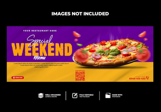 Capa do facebook menu do restaurante pizza deliciosa
