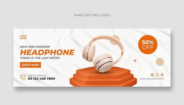 Capa do facebook para fone de ouvido e modelo de banner da web