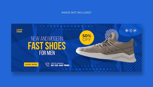 Capa do facebook para sapatos e modelo de banner da web
