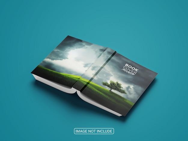 Capa do livro com vista lateral sobre fundo azul simulado