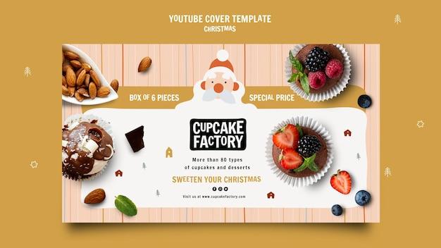 Capa do youtube da fábrica de cupcake de natal