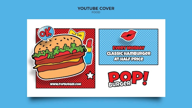 Capa do youtube de comida pop art
