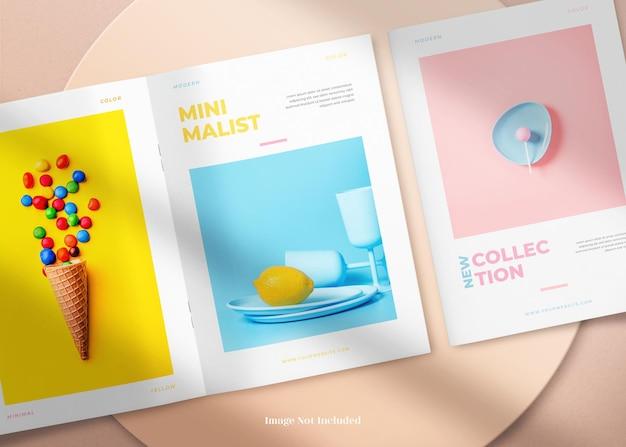 Capa dupla a4 e maquete minimalista aberta de revista ou brochura