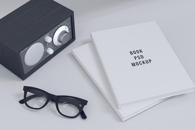 Capa dura livro maquete estilo retro