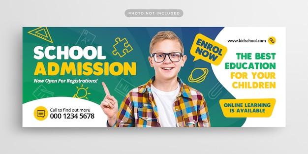 Capa e banner da web para admissão na educação escolar
