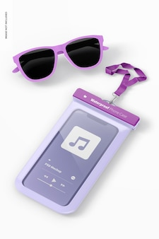 Capa para telefone à prova d'água com maquete de óculos de sol