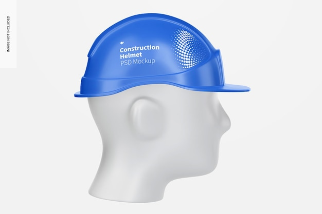 Capacete de construção com maquete de cabeça, vista esquerda