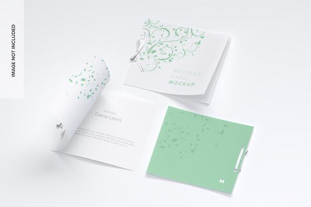 Capas de maquete de cartão de casamento e páginas internas