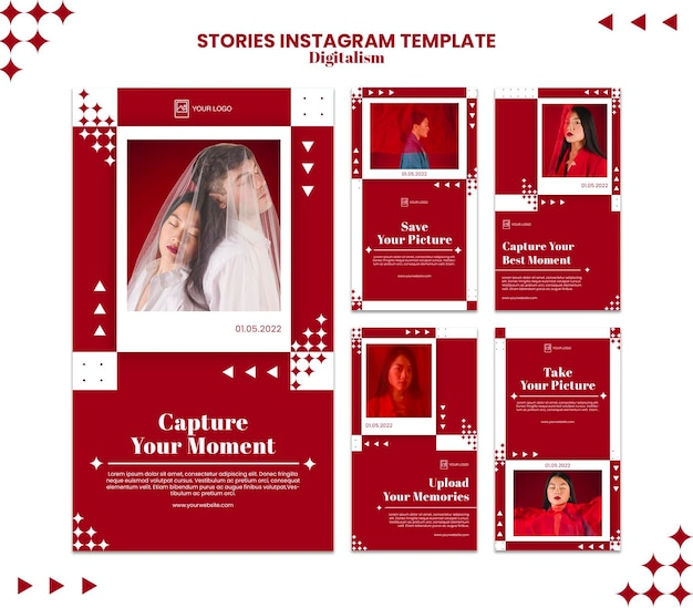 Capture o modelo de histórias do instagram do momento
