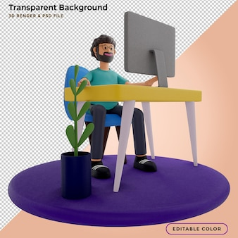 Cara barbudo sentado na frente do laptop, trabalho do homem no computador. freelancer, renderização 3d, ilustração 3d