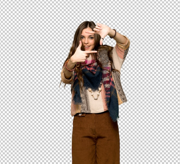 Cara de focalização da mulher nova da hippie. símbolo de enquadramento