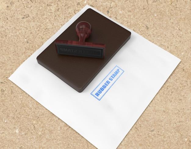 Carimbo de borracha realista ou design de maquete de logotipo de almofada de carimbo