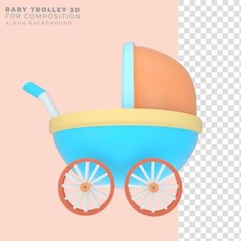 Carrinho de bebê com renderização 3d