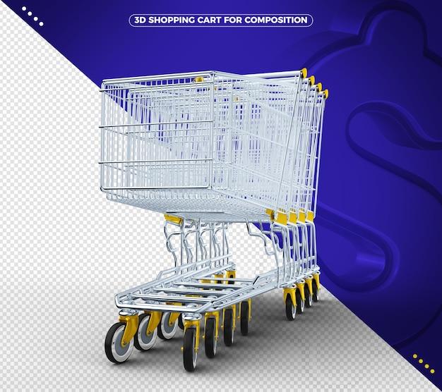 Carrinho de compras 3d amarelo em fundo azul sólido