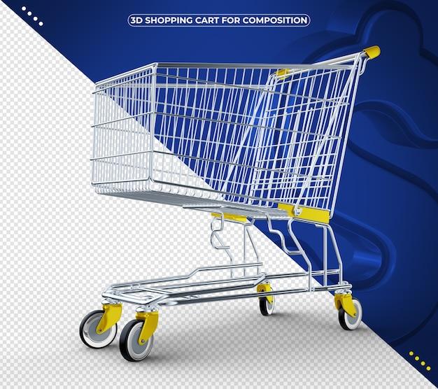 Carrinho de compras 3d amarelo isolado em fundo azul