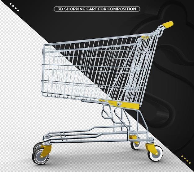 Carrinho de compras 3d amarelo para composição