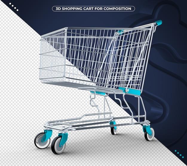 Carrinho de compras 3d azul claro isolado em fundo preto