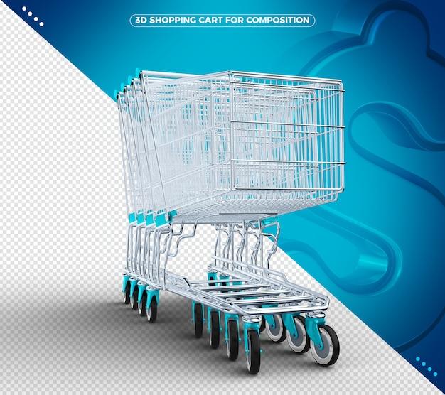 Carrinho de compras 3d azul claro isolado