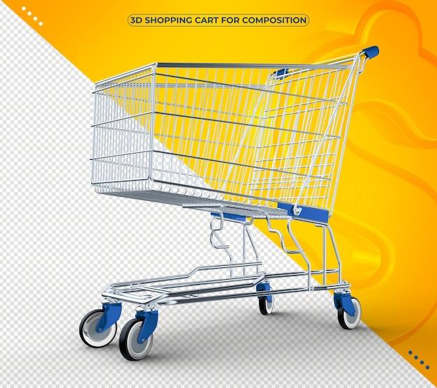Carrinho de compras 3d azul isolado