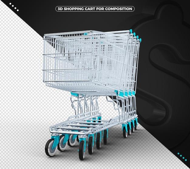 Carrinho de compras 3d em azul claro com fundo preto sólido
