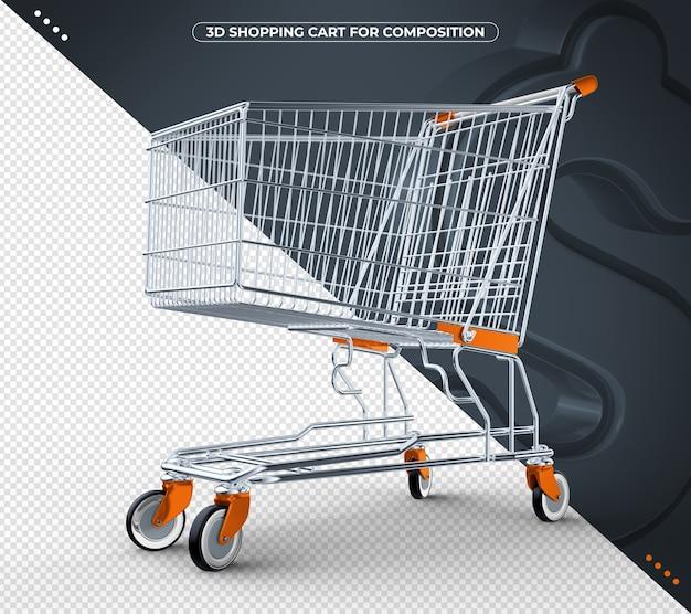 Carrinho de compras 3d laranja isolado em fundo preto