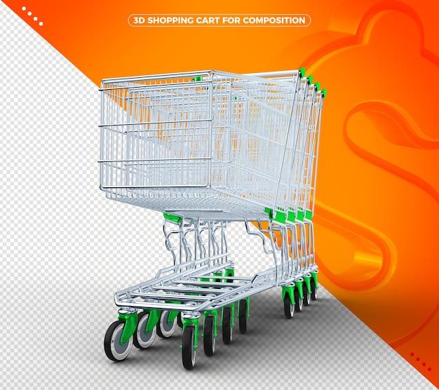 Carrinho de compras 3d verde em fundo laranja sólido