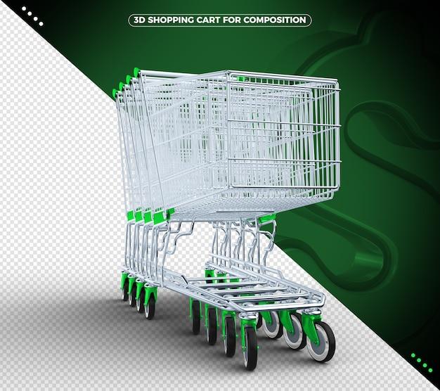Carrinho de compras 3d verde isolado
