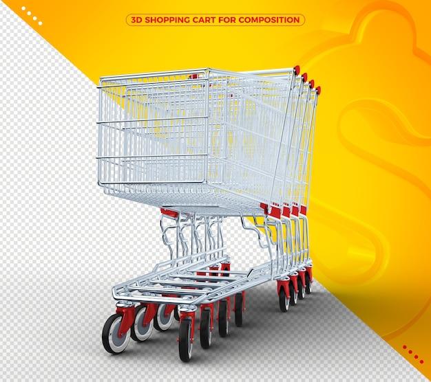 Carrinho de compras 3d vermelho em fundo amarelo sólido