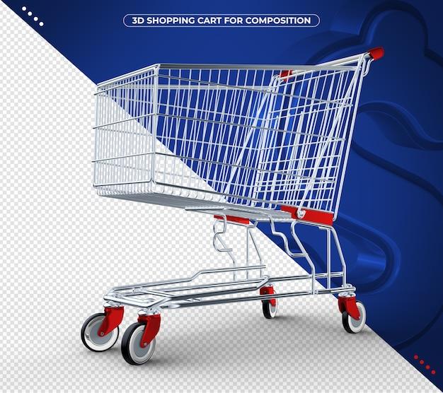 Carrinho de compras 3d vermelho isolado em fundo azul