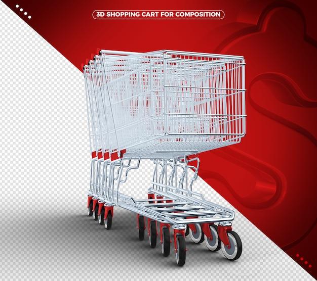 Carrinho de compras 3d vermelho isolado