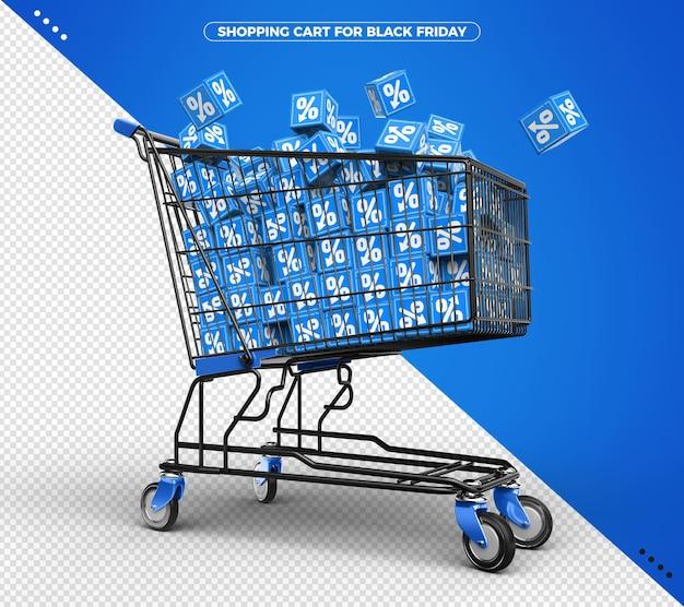 Carrinho de compras com cubos azuis na porcentagem 3d de sexta-feira negra