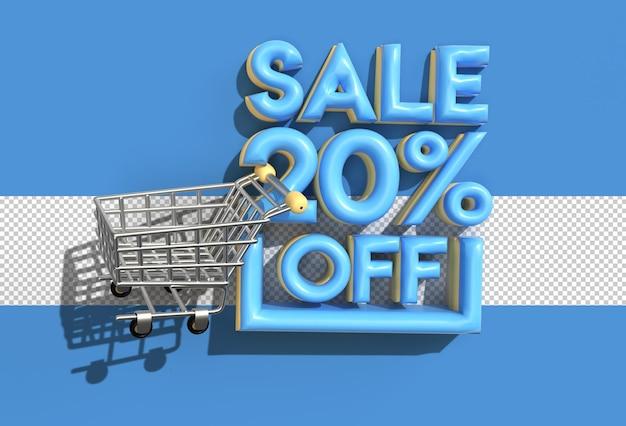 Carrinho de compras com venda de 20 por cento fora do banner de desconto com arquivo psd transparente