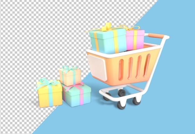 Carrinho de compras de desenho animado com caixa de presente isolada