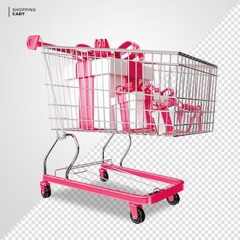 Carrinho de compras rosa com caixa de presente renderização 3d isolada