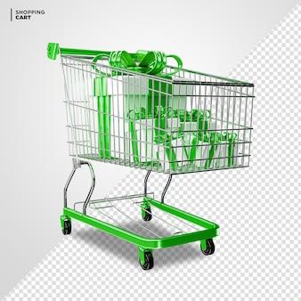 Carrinho de compras verde com caixa de presente renderização 3d isolada