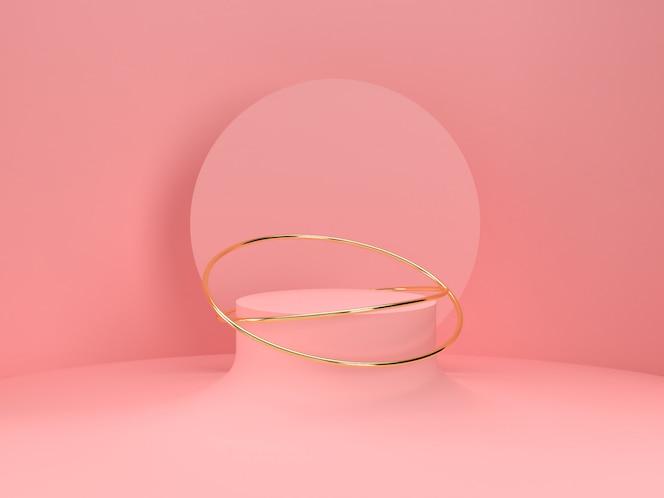 Carrinho de produto pastel rosa sobre fundo. conceito abstrato geometria mínima. renderização 3d