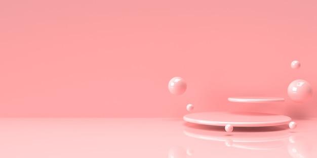 Carrinho de produto pastel rosa sobre fundo. conceito abstrato geometria mínima