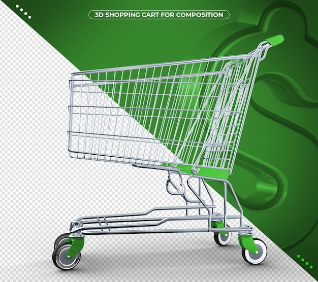 Carrinho de supermercado 3d verde isolado