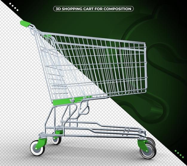 Carrinho de supermercado verde 3d