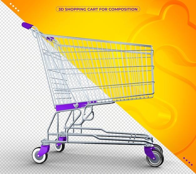Carrinho de supermercado violeta 3d em renderização 3d isolado