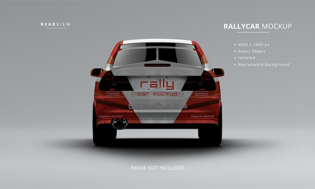 Carro de rally realista mock up vista lateral traseira