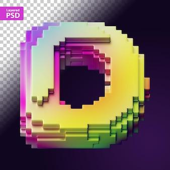 Carta 3d feita de pixels coloridos