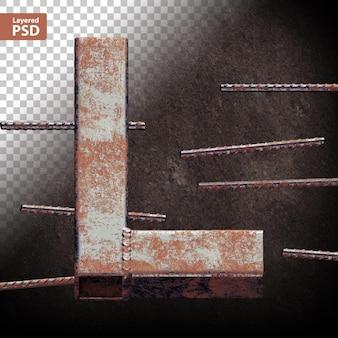 Carta 3d feita de tubos de metal grunge soldados
