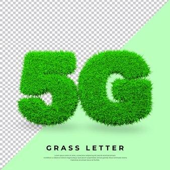 Carta 5g na grama isolada