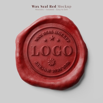 Carta autêntica vintage selando maquete de logotipo de selo de cera de vela vermelha redonda